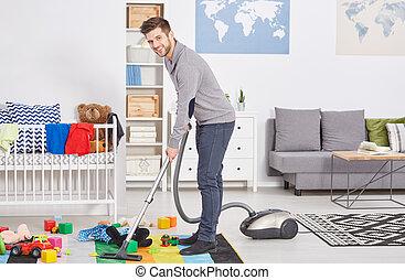 papá, feliz, tiempo, El limpiar con la aspiradora, primero