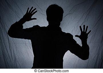 Oscuridad, atrás, sombra, tela, hombre