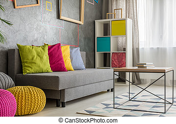 Grey couch with colored cushion - Grey comfortable couch...