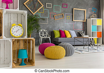 Wooden boxes in colorful room - Wooden recycled boxes in...