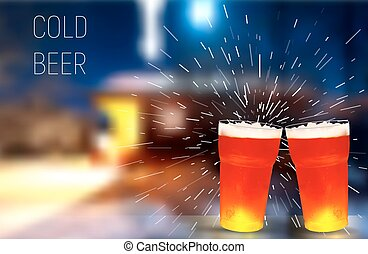Winter. House. frosty glass of beer, vector illustration