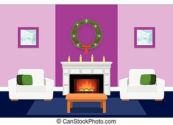Living room interior with fireplace. Flat vector...