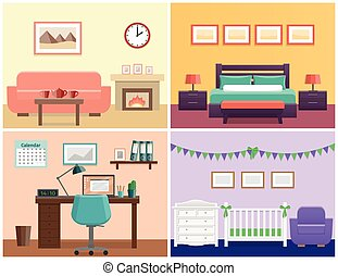 House interior in flat style. Vector graphic. - House...