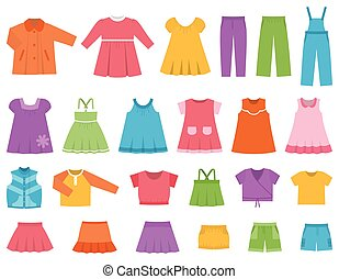 Vector set children's clothes for girls. - Baby clothes for...