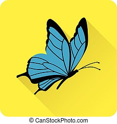 Blue butterfly. Vector flat icon. - Butterfly icon in flat...