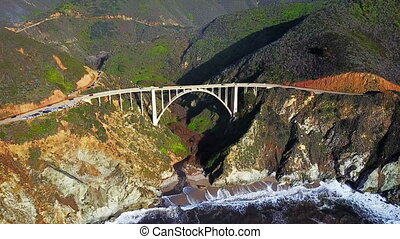 Aerial view of Bixby Bridge and Pacific Coast Highway...