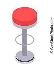 Bar Stool in Red Color Isolated. Flat Design. - Bar stool in...