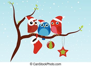 Christmas greeting with birds sitting on branch