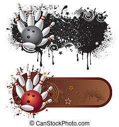 bowling sport design element - bowling sport and grunge ink
