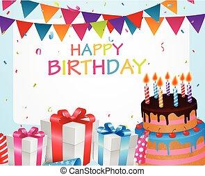 compleanno, fondo, celebrazione