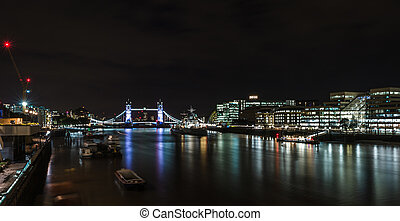 London River Thames nightscape. View to the Tower Bridge