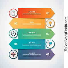 Infographic arrows with circular design elements
