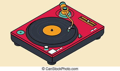 Video icon of a vinyl player rotates a vinyl disc. DJ music...