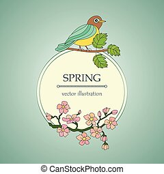 Card with tit on a branch and cherry flowers. Vector...