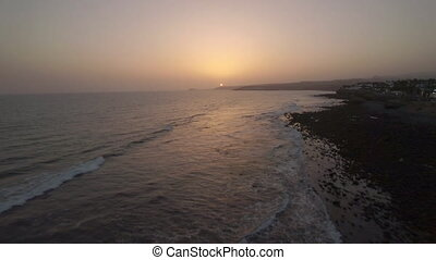 Aerial view of picturesque island landscape in sunset time...