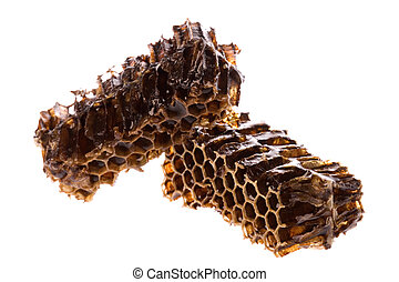 Honey in Honeycomb - Isolated image of honeycomb with honey...