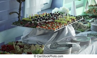 Food on buffet table at the party