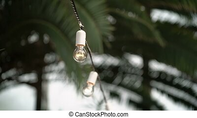 Lamp garland in garden at day