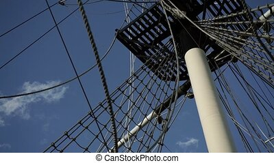 Mast on sailboat ship closeup