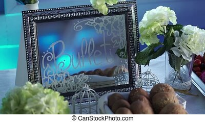 Buffet sign on mirror at the party