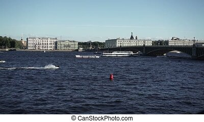 Saint-Petersburg view on river Neva at sunny day