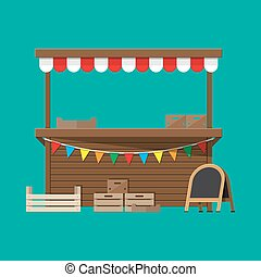 Market food stall with flags, crates, chalk board -...