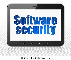 Safety concept: Tablet Pc Computer with Software Security on display