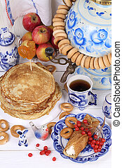 Pancakes with cottage cheese and a Cup of tea - Still life...