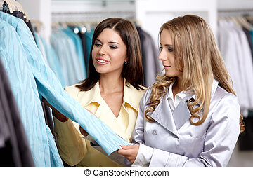 Two girls in shop