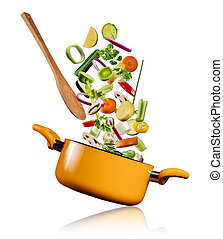 Fresh vegetables flying into a pot on white background