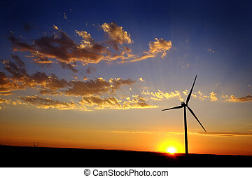 Windmill for Generating Power Wind Blowing Sky Clouds Sunset...