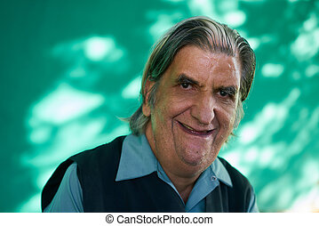 Real People Portrait Funny Senior Man Laughing At Camera -...