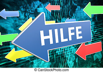 Hilfe - german word for help - text concept on blue arrow...