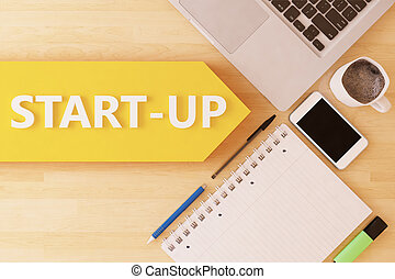 Start-up - linear text arrow concept with notebook,...