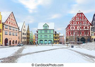 Medieval old Rothenburg ob der Tauber - Amazing winter on...