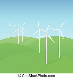 Wind Turbine Farm - Vector illustration of landscape with...