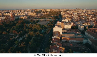 Aerial morning flight above the Moscow district, Russia