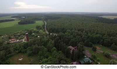 Aerial flight above the Lukino, Moscow, picturesque...