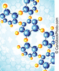 molecule - Vector illustration - blue abstract background...
