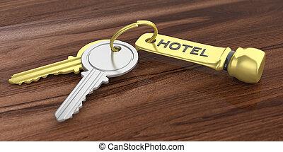 Hotel keys on a wooden background. 3d illustration