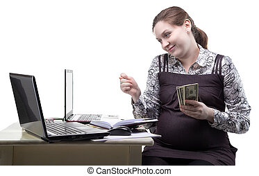 Pregnant woman showing fico gesture on white background