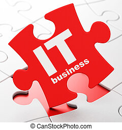 Business concept: IT Business on puzzle background -...