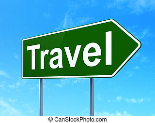 Holiday concept: Travel on road sign background