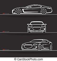Vector car silhouettes set. Modern luxury sedan. Abstract...