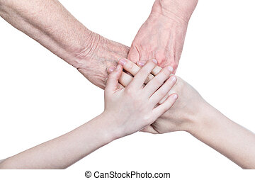 Four hands of the family