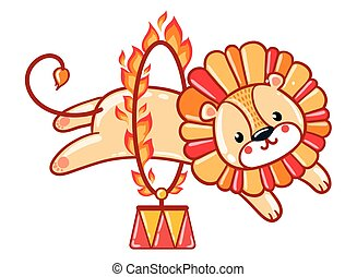 Lion jumping through a flaming ring. - Circus lion jumping...