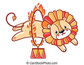 Lion jumping through a flaming ring. - Circus lion jumping...