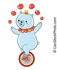 Bear juggles apples illustration.
