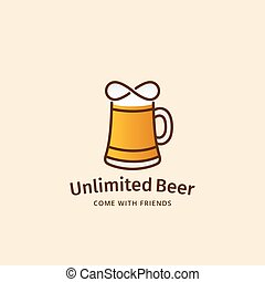 Unlimited Beer Abstract Vector Sign, Emblem or Logo...