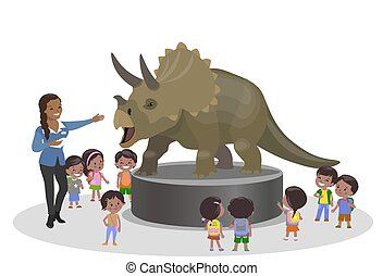 Students kids children in the paleontological museum education centr trip looking at dinosaur Triceratops. Teacher indian african american black brown skin woman girl. Vector illustration
